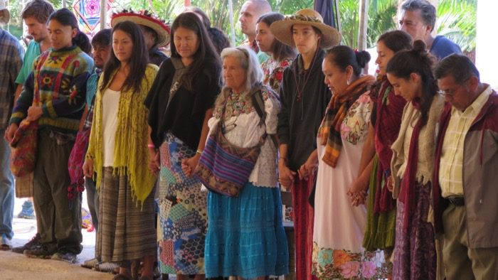 : Indigenous leaders and healers such as Cheryl Angel, Lakota from South Dakota; Abuela Tonalmi, Mexico City; Clemente Ramirez and Lucio Lopez, Wixáritari from Jalisco, Mexico; and Ernesto and Aurora Saquí, Mopan Maya, Belize, to participate in the activities and share their visions and prayers.